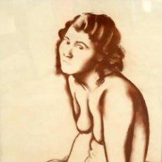Arte: FRANCESC DOMINGO SEGURA (BARCELONA, 1895 - BRASIL, 1974) DIBUJO A SANGUINA. RETRATO FEMENINO. Lote 94643643