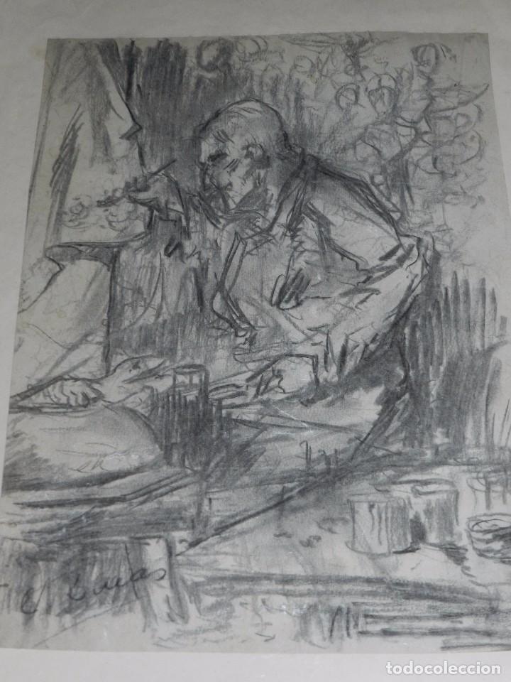 (M) DIBUJO ORIGINAL DE EUGENIO LUCAS VELAZQUEZ ( 1817 - 1870 ) DIBUJO A CARBON , 50 X 35'5 CM, (Arte - Dibujos - Modernos siglo XIX)