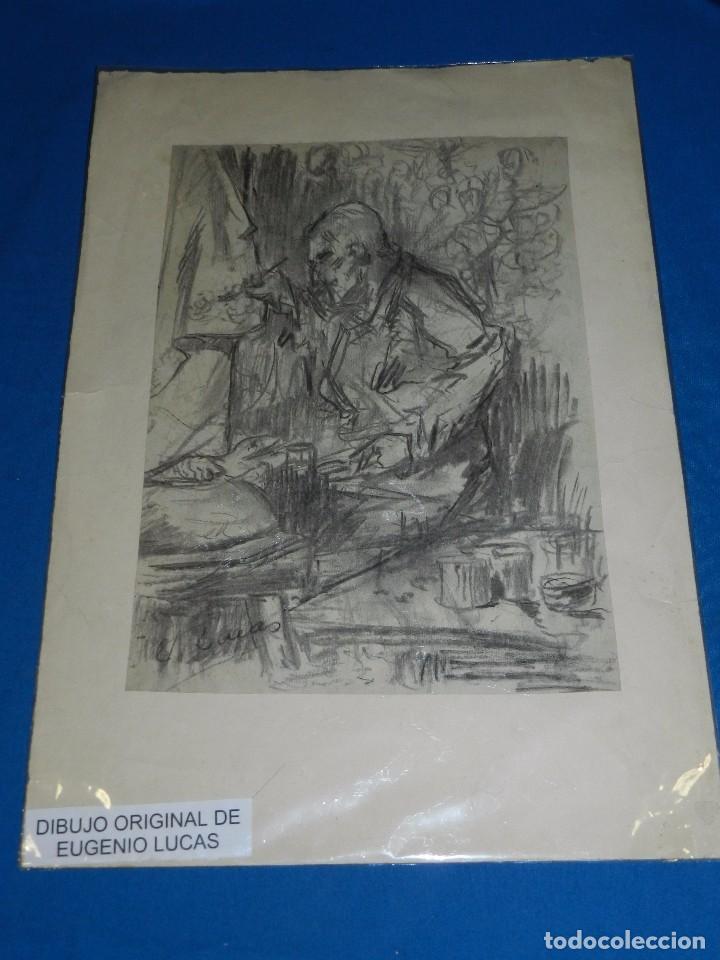 Arte: (M) DIBUJO ORIGINAL DE EUGENIO LUCAS VELAZQUEZ ( 1817 - 1870 ) DIBUJO A CARBON , 50 X 355 CM, - Foto 2 - 95065847
