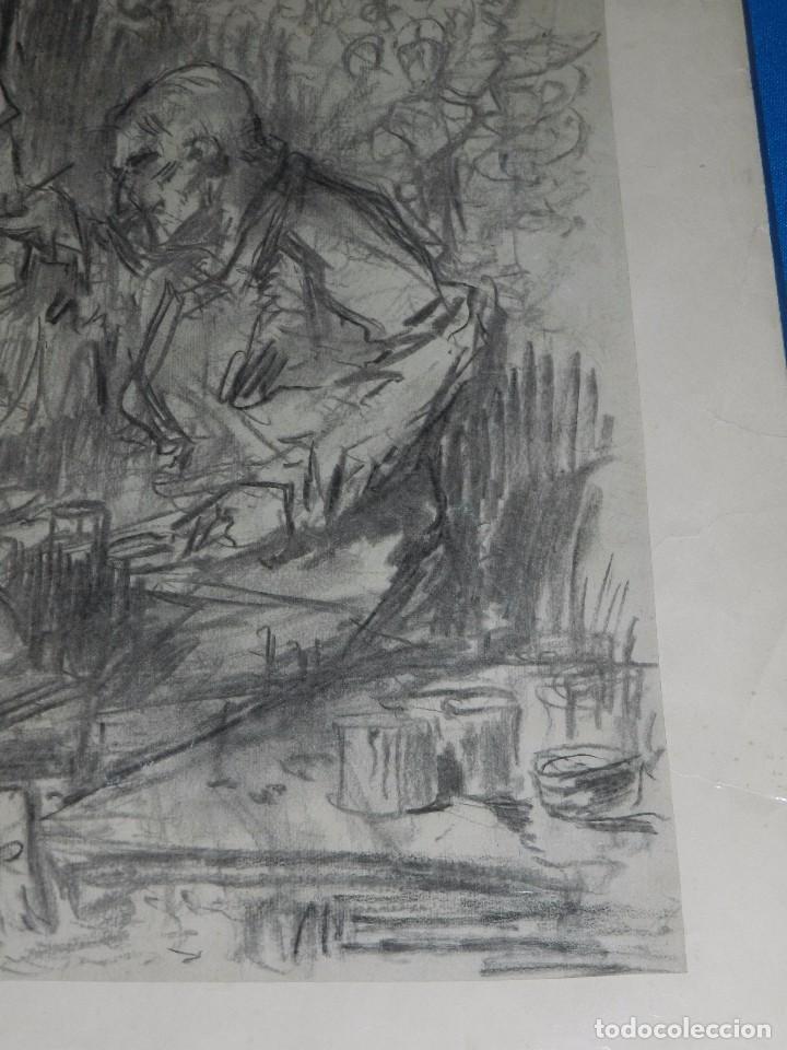 Arte: (M) DIBUJO ORIGINAL DE EUGENIO LUCAS VELAZQUEZ ( 1817 - 1870 ) DIBUJO A CARBON , 50 X 355 CM, - Foto 4 - 95065847