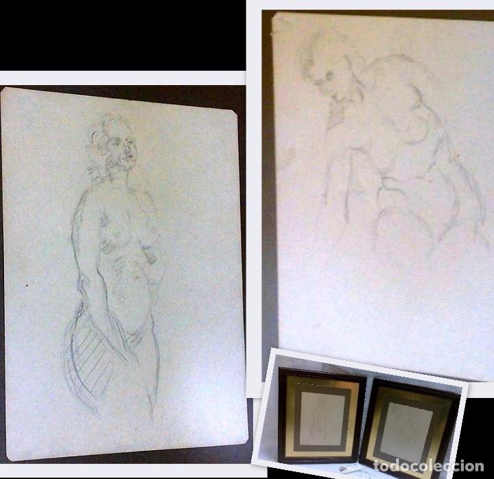 -.MUJER.- PAREJA DE DIBUJOS CON DESNUDOS FEMENINOS. (Arte - Dibujos - Contemporáneos siglo XX)