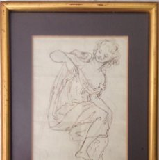 Arte: PRECIOSO Y ANTIGÜO DIBUJO A LÁPIZ Y ACUARELA , ANÓNIMO ENMARCADO .. Lote 95458911