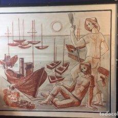 Arte: DIBUJO LAPIZ GRASO TINTA PESCADORES EN PUERTO AÑOS 40 50 61X70CMS. Lote 95492715