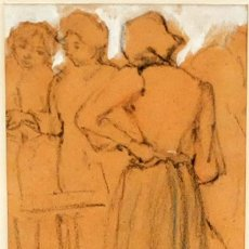 Arte: JAUME PONS MARTÍ (BARCELONA, 1855 - GIRONA, 1931) DIBUJO A CARBON CON TOQUES DE CLARION. Lote 95525787