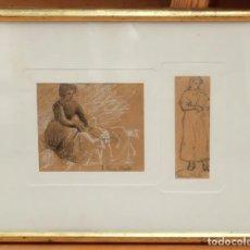 Arte: JAUME PONS MARTÍ (BARCELONA, 1855 - GIRONA, 1931) DIBUJO A CARBON CON TOQUES DE CLARION. Lote 95527123