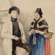Arte: ESCUELA ALEMANA DEL SIGLO XIX. ACUARELA Y TINTA SOBRE PAPEL FECHADO DEL AÑO 1895. PERSONAJES TIPICOS. Lote 95539879
