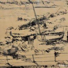 Arte: JOAN SERRA MELGOSA (LLEIDA,1899 - BARCELONA,1970) DIBUJO A TINTA FIRMADO. ESCENA DE UNOS PESCADORES. Lote 95540303