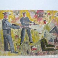 Arte: CERA - ANÓNIMA - ATRIBUIDO A ALCALÁ VARGAS -GRISES DISPARANDO A MANIFESTANTES. Lote 95626103