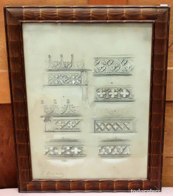 DIONIS BAIXERAS I VERDAGUER. DIBUJO A LAPIZ FIRMADO. APUNTES ARQUITECTONICOS (Arte - Dibujos - Contemporáneos siglo XX)
