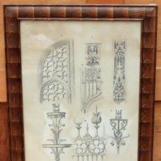 Arte: DIONIS BAIXERAS I VERDAGUER. DIBUJO A LAPIZ FIRMADO. APUNTES ARQUITECTONICOS. Lote 95998971