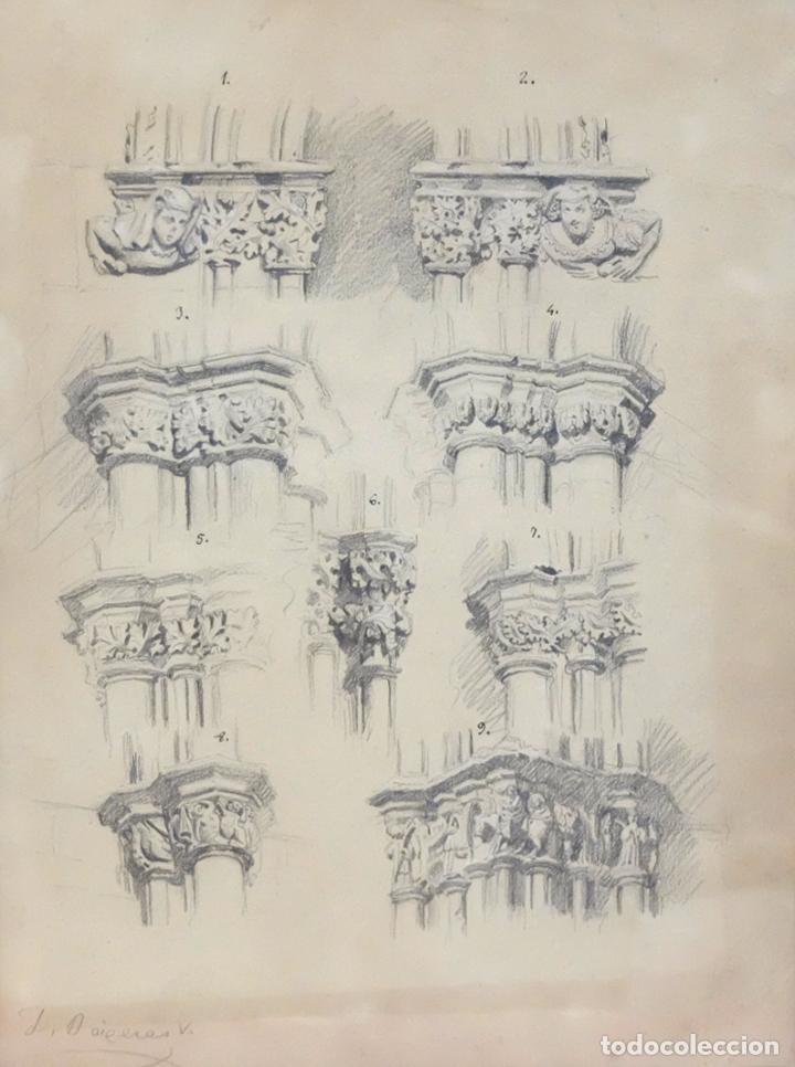 Arte: DIONIS BAIXERAS I VERDAGUER. DIBUJO A LAPIZ FIRMADO. APUNTES ARQUITECTONICOS - Foto 2 - 95999839