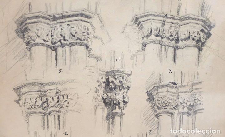 Arte: DIONIS BAIXERAS I VERDAGUER. DIBUJO A LAPIZ FIRMADO. APUNTES ARQUITECTONICOS - Foto 5 - 95999839