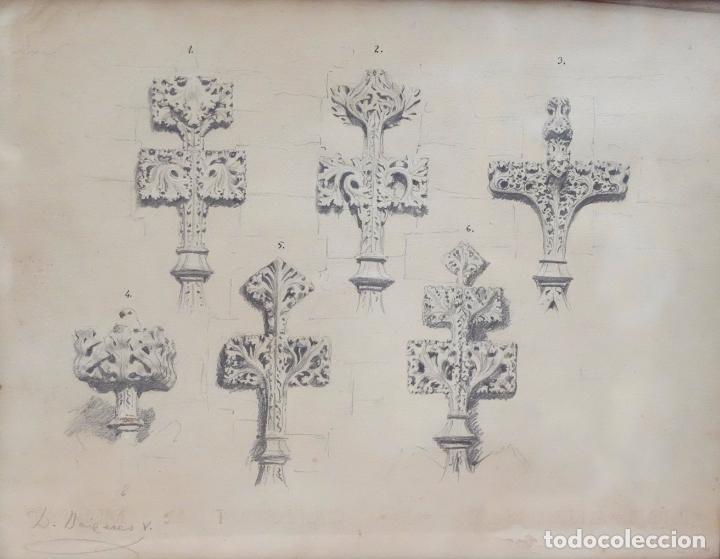 Arte: DIONIS BAIXERAS I VERDAGUER. DIBUJO A LAPIZ FIRMADO. APUNTES ARQUITECTONICOS - Foto 2 - 96000071