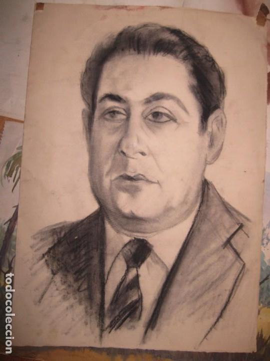 ANTIGUO DIBUJO A CARBONCILLO RETRATO PINTOR ARTISTICO AUTORRETRATO PINTOR DE ALICANTE (Arte - Dibujos - Contemporáneos siglo XX)