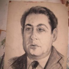 Arte: ANTIGUO DIBUJO A CARBONCILLO RETRATO PINTOR ARTISTICO AUTORRETRATO PINTOR DE ALICANTE. Lote 96098719