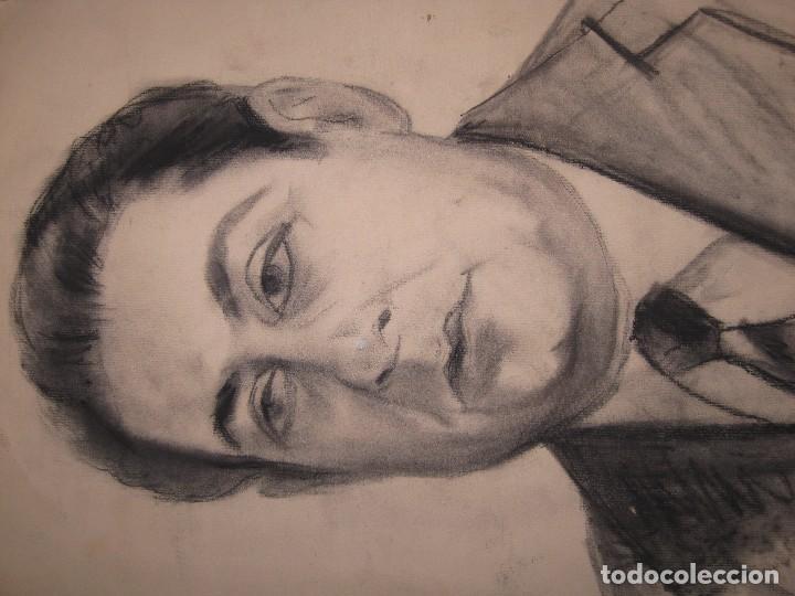Arte: ANTIGUO DIBUJO A CARBONCILLO RETRATO PINTOR ARTISTICO AUTORRETRATO PINTOR DE ALICANTE - Foto 2 - 96098719
