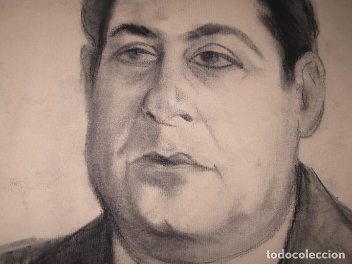 Arte: ANTIGUO DIBUJO A CARBONCILLO RETRATO PINTOR ARTISTICO AUTORRETRATO PINTOR DE ALICANTE - Foto 4 - 96098719