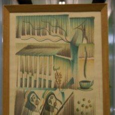 """Arte: DIBUJO A COLOR SOBRE PAPEL. FIRMADO """"EL ESPAÑOL, 1964"""".. Lote 96159079"""