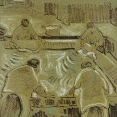 Arte: CHARLES PARDELL (1912-1984) TÉCNICA MIXTA SOBRE PAPEL LAVANDERÍA FIRMADO. Lote 96429543