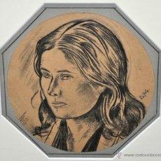 Arte: ALBERT RAFOLS CULLERÉS (BARCELONA 1892 - 1986) DIBUJO A CARBON. RETRATO FEMENINO. Lote 96497751