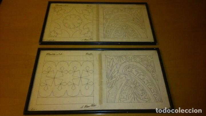 ANTONIO SAURI SIRÉS , 4 DISEÑOS DE BALDOSAS HIDRÁULICAS. DIBUJO ORIGINAL, LAPIZ Y TINTA SOBRE PAPEL (Arte - Dibujos - Contemporáneos siglo XX)