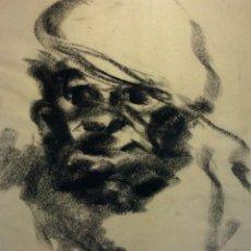 Arte: RETRATO DE HOMBRE CON BOINA. CARBONCILLO SOBRE PAPEL. ESPAÑA. SIGLO XX. Lote 112475130