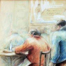 Arte - HOMBRES EN UN BAR. LÁPIZ DE COLOR SOBRE PAPEL. ANTONIO ROVIRA RAMIS. ESPAÑA. 1980 - 96598759