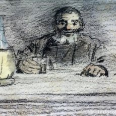 Arte: HOMBRE BEBIENDO VINO. GRAFITO Y ACUARELA. LLUIS GRANER ARRUFI. ESPAÑA. XIX-XX. Lote 96770919