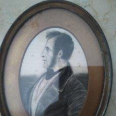 Arte: DIBUJO A CARBONCILLO FIRMADO MANZONI CODERCH ? 1850. 15 X 20 CM. MARCO ANTIGUO METÁLICO.. Lote 96930223