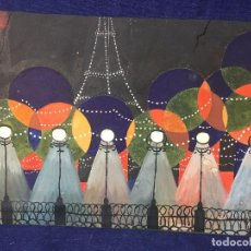 Arte: GOUACHE VISTA BOULEVARD BULEVAR PARIS CARTULINA RECORTADA COLLAGE LOBI 1926 ART DECO 21X31CMS. Lote 97226571