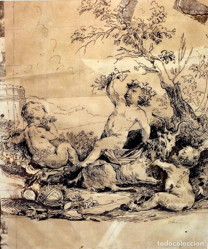 DIONISOS NIÑO. TINTA SOBRE PAPEL. FIRMA DESCONOCIDA. FRANCIA(?). XVII-XVIII (Arte - Dibujos - Antiguos hasta el siglo XVIII)