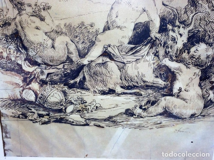 Arte: DIONISOS NIÑO. TINTA SOBRE PAPEL. FIRMA DESCONOCIDA. FRANCIA(?). XVII-XVIII - Foto 3 - 97276539
