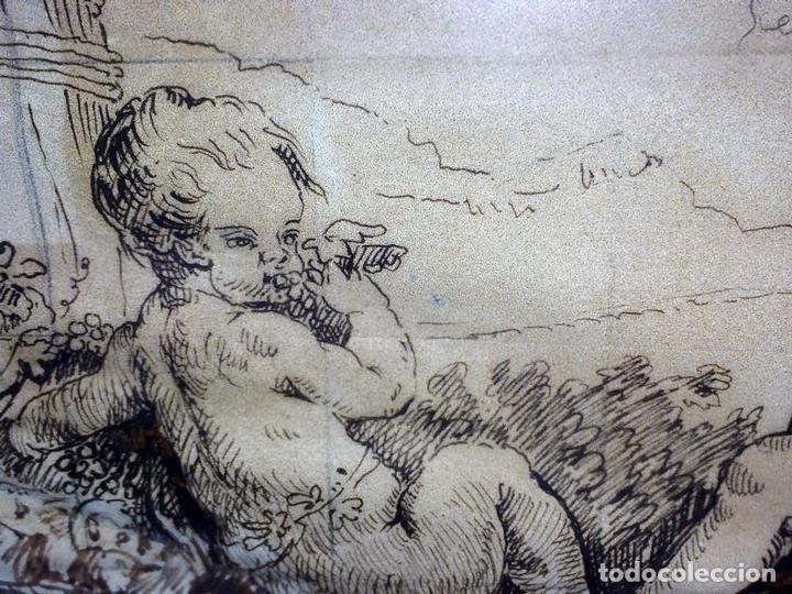 Arte: DIONISOS NIÑO. TINTA SOBRE PAPEL. FIRMA DESCONOCIDA. FRANCIA(?). XVII-XVIII - Foto 9 - 97276539