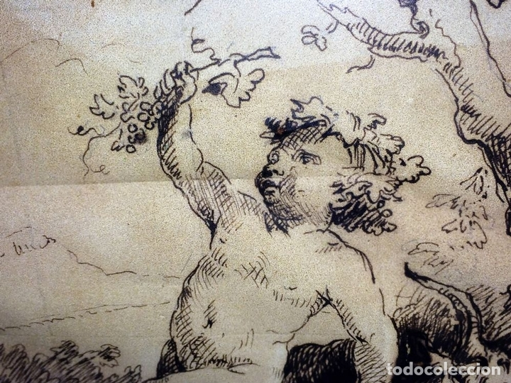 Arte: DIONISOS NIÑO. TINTA SOBRE PAPEL. FIRMA DESCONOCIDA. FRANCIA(?). XVII-XVIII - Foto 11 - 97276539