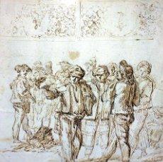 Arte: GRUPO DE HOMBRES FUMANDO TABACO. TINTA SOBRE PAPEL. ESPAÑA(?). ANÓNIMO. XVIII-XIX. Lote 97282103