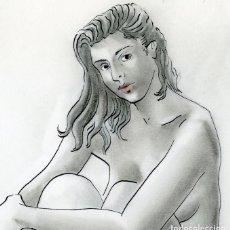 Arte: CELEDONIO PERELLÓN. DIBUJO ORIGINAL. CHICA SENTADA, 1990. Lote 97568655