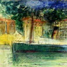 Arte: PUERTO. DIBUJO. PASTEL Y GRAFITO SOBRE PAPEL. FIRMADO FLUVIÁ. ESPAÑA. 1957. Lote 97706499