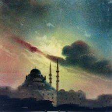 Arte: LA MEZQUITA BENDJAMI. CUERNO DE ORO. PASTEL SOBRE. AZAROV (G?). TURQUIA(?). FIN SIGLO XIX. Lote 97777431