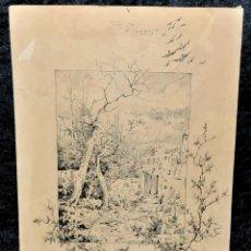 Arte: JOAQUIM GUASCH. DIBUJO A TINTA FECHADO DEL AÑO 1883. RINCON DE BARCELONA. Lote 97840307