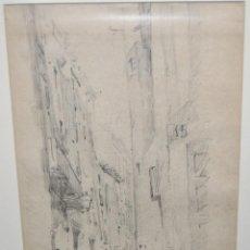 Arte: ANTONI RIGALT I BLANCH (BARCELONA 1861 - 1914). DIBUJO A LAPIZ. VISTA DE UNA CALLE. Lote 97842930