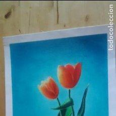 Arte: TULIPANES - LAMINA SIN ENMARCAR 30 X 40 - PINTADO CON CERAS. Lote 94995347