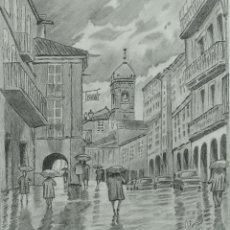 Arte: DIBUJO A LÁPIZ PAISAJE URBANO FIRMADO ALONSO SIGLO XX. Lote 98012603