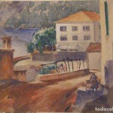 Arte: DIBUJO FIRMADO BILL MERRILL - VISTA DE MARITIMA SOLLER HOTEL COSTA BRAVA - ACUARELA 37CMX32CM . Lote 98127043