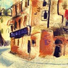 Arte: CALLE DE CIUDAD. LÁPIZ DE COLOR SOBRE PAPEL. FIRMADO VIVES FIERRO. ESPAÑA. SIGLO XX. Lote 98195431