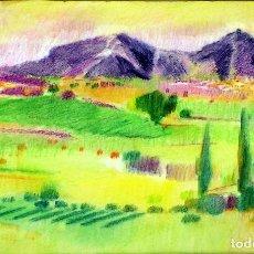 Arte: LA SIERRA DE MONTGRÍ. LAPIZ COLOR SOBRE PAPEL. FIRMADO. FLUVIÀ(?). ESPAÑA. CIRCA 1970. Lote 98212839