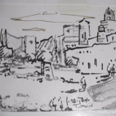 Arte: DIBUJO A ROTULADOR DEL PUEBLO DE PALS EN GIRONA - TURON . Lote 98700759