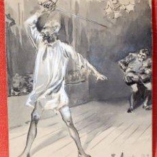 Arte: JOSE JIMENEZ ARANDA (SEVILLA, 1837 - 1903) GOUCHE FECHADO DEL AÑO 1892. ESCENA DEL QUIJOTE. Lote 98846283