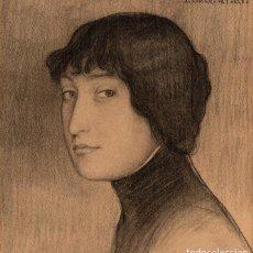 ROMERO DE TORRES , Julio . Magnífico Dibujo firmado . 1913 Lápiz carboncillo sobre papel . Enmarcado