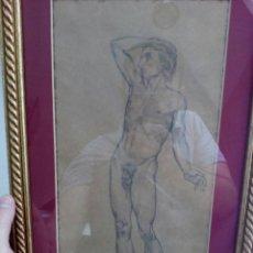 Arte: DIBUJO DESNUDO MASCULINO ACADÉMICO AÑO 1950, FIRMADO GINÉS, ACADEMIA, DESNUDO HOMBRE. Lote 122088978