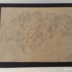 Arte: MAGNÍFICO DIBUJO BOCETO - BATALLA DE ROSSBRUNN DE 1866 - FIRMADO Y FECHADO 1888. Lote 99350139